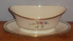 Discontinued Lenox Morning Blossom Gravy Boat With Attached Underfplate Mint