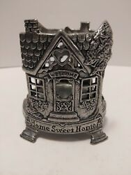 Carson Pewter Candle Jar Holder Home Sweet Home Fits Yankee Jar Candles
