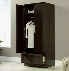 Wooden Wardrobe 2 Door Closet With Drawer Garment Rod Adjustable Shelf Organizer