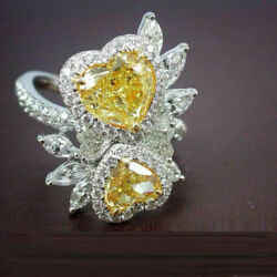 Fabulous Cocktail Double Yellow Heart Party Wear Ring Solid 925 Sterling Silver