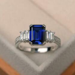 3.50 Ct Natural Sapphire Diamond Engagement Ring 14k Solid White Gold 6 7 9