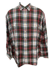 Polo Mens Shirt Size L Red Blue Plaid Whitfield Button Front