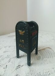 Vintage Cast Iron Mail Box Still Bank Air Mail Letters Us