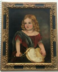 """Large Antique Oil Painting """"girl In Red Dress"""" Folk Style Art"""