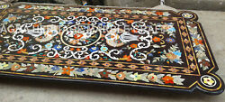 6and039x3and039 Black Marble Hallway Conference Table Top Pietra Dura Inlay Decor Art E363