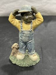 African American Boy And Dog Youngandrsquos Collectibles 1994 Black Americana 5andrdquo Child