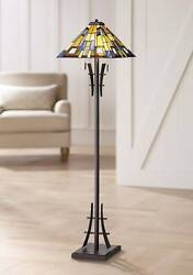 Asian Floor Lamp Bronze Iron Style Stained Glass For Living Room Reading