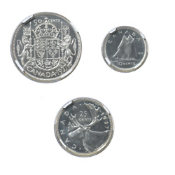 1937 Canadian Silver Special Proof Collection Dime, Quarter, And Half Dollar, N