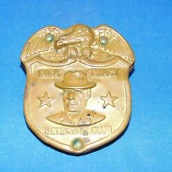 Old Vintage Dick Tracy Detective Club Metal Badge Original With Belt Pouch