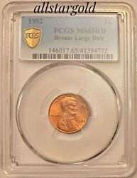 1982 1c Pcgs Ms 65 Rd Bronze Large Date Mint Error Transnational Coin