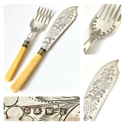 Late 1800s Sheffield Silver Plate Lee And Wigfull Antique Victorian Fish Servers
