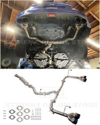 For 15-up Subaru Wrx Sti   Cat Back Exhaust System 4 Inch Quad Burnt Tips