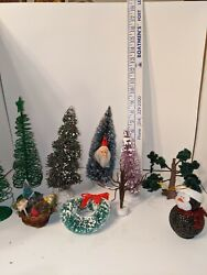 Lot Of 6 Vintage Style Christmas Trees, Various Ages Wreath, Bottle Brush, Plus