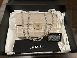 Chanel Beige Quilted Canvas Classic Single Flap Bag $1500.00