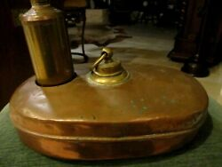 Antique Brass And Copper Bed Foot Baby Bottle And Hot Water Warmer
