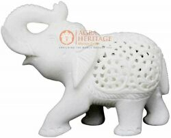 4 Marble Handmade Trunk Up Elephant Statue Filigree Inlaid New Year Eve Gifts
