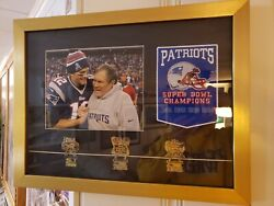 Goat Tom Brady 🐐 Bill Bellieck 11x14 Framed Picture With Super Bowl Pins