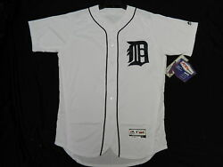 Detroit Tigers Authentic Mlb White Jersey Size 40 Medium, Flex Base Made In Usa