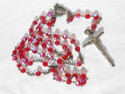 Antique Italy Red Borealis Glass Rosary Necklace G2
