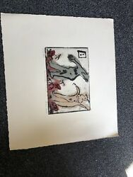 Bruce Botts Hand Colored Etching 2/40 E.v Andldquothe Modern Coupleandrdquo Signed 17andrdquox15andrdquo