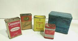 Vintage Spice Tea Tins Colmanand039s Mustard Iga Turmeric Accent Schilling