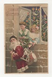 a Rare Red Suit Htl Christmas Santa Claus-embossed Postcard Circa 1909
