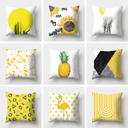 Soft Silky Throw Pillow Covers Home Decor Yellow Decorative Cushion Case 18x18quot;