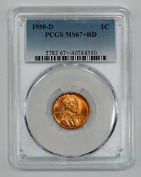 1950 D Lincoln Wheat Cent Penny 1c Pcgs Ms 67+ Red Mint State Unc Plus 350