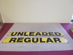 Vintage Gas Pump Station Signs Regular Unleaded Leaded Double Sided Tin