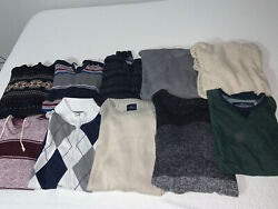 ✨mens Clothing Lot Of 10 Sweaters Various Brands Pullover Half Zip Crew Neck✨