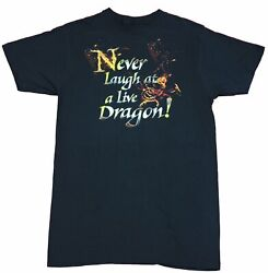 The Hobbit Mens T Shirt Never Laugh at a Live Dragon Word amp; Fire
