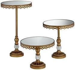 Antique Gold Cake Cupcake Stands Mirror Top Set Of 3 For Wedding Birthday Party
