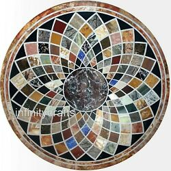 48 Inches Round Shape Office Table Top Multi Gemstones Patio Dining Table Top