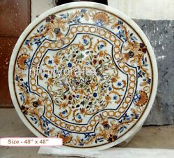 48 Inches Marble Inlay Hallway Table Top Antique Work Round Patio Dining Table