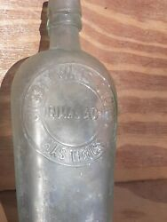 Vintage Old Antique Aqua Glass Hip Bottle Sussex Wine Stores Hastings Inman And Co