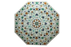 42 Inches Royal Look White Dining Table Top Marble Garden Table With Inlay Art