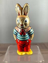 Vintage 1950s Chein 159 Wind-up Tin Toy Walking Easter Bunny, Usa