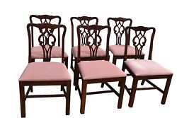 Vintage American Of Martinsville Mahogany Chippendale Style Dining Chairs