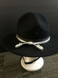 Campaign Hat Military Blue Wool Drill Instructor Hat With Travel Case