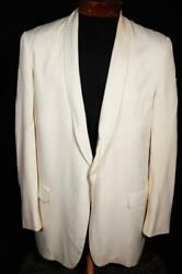 Vintage 1950and039s After Six Cream Gabardine Shawl Collar Tuxed Size 41 Reg