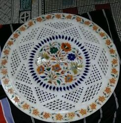 White Marble Filligree Round Plate Hakik Multi Inlay Floral Interior Decor H4493