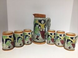Stein Pitcher With 6 Matching Mugs Vintage Beer Mug Collectible Unique Collector