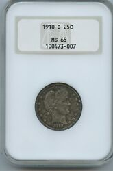 1910 D Barber Quarter Ngc Ms 65 Fatty Holder Super Original Coin Nearly Hit Free