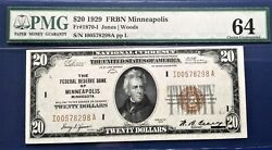 20 1929 Federal Reserve Note F-1870-i Minneapolis Pmg64 Choice Uncirculated
