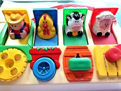 Vintage 1993 Fisher Price 5826 Barn Farm Animals Tractor Pop Up Baby Toy Farmer
