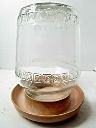 Vintage National-ideal Chick-fount Chicken Waterer Clear Glass Melamine Bottom