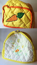 Vintage Toaster Oven Cover Lot Quilted Carrot Flower Barn Corning Kitchen Poppy