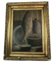 Antique Oil Painting Still Life Fish In Gold Gilt Frame