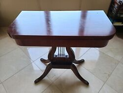 Antique Flip Top Mahogany Game Table/card Table With Paw Foot