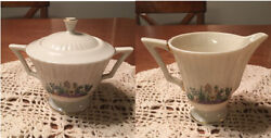 Lenox Rutledge Creamer, Sugar Bowl And Lid Discontinued Excellent Condition